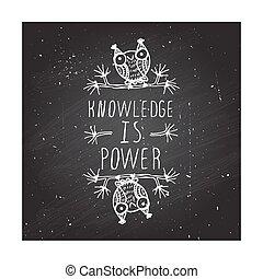 puissance, connaissance, -, affiche