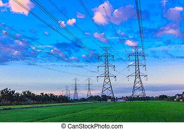 puissance, crépuscule, électricité, haute tension, pylône