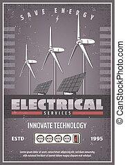 puissance, eco, bannière, énergie, retro, sauver, technologie
