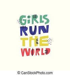 puissance, féministe, citation, main, t-shirt, impression, dessiné
