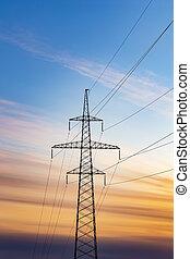 puissance, fond, silhouette, coucher soleil, ligne