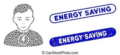 puissance, homme, énergie, mosaïque, ellipse, économie, filigranes, grunge