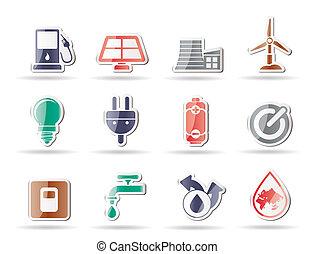 puissance, icônes, écologie, énergie, -, v