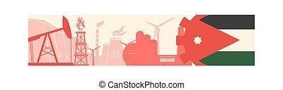 puissance, icônes, énergie, en-tête, drapeau, jordanie, bannière, set.