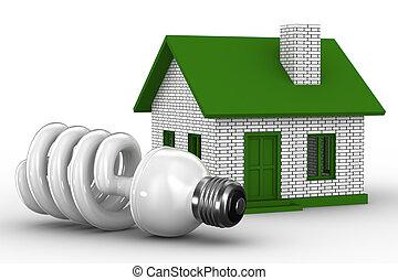 puissance, image, house., isolé, efficacité, 3d