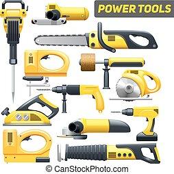 puissance, jaune, pictograms, noir, collection, outils