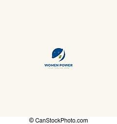 puissance, logo, mondiale, femme, autour de