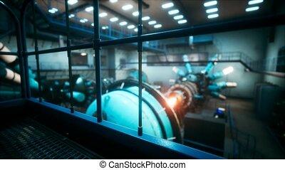 puissance, nucléaire, cyberpunk, futuriste, réacteur, ou, ...