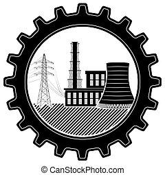 puissance, nucléaire, thermique, logo, plant., industrial.