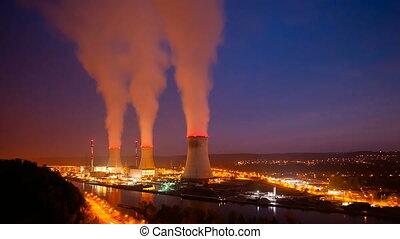puissance, nuit, station, nucléaire