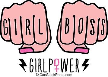 puissance, patron, vecteur, femme, girl, mains