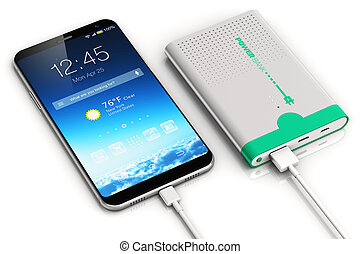 puissance, smartphone, charger, banque