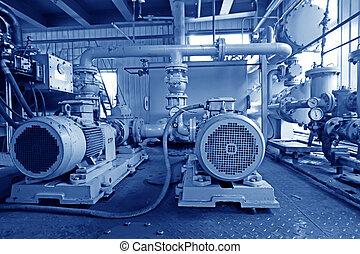 puissance, système, hydraulique, plante