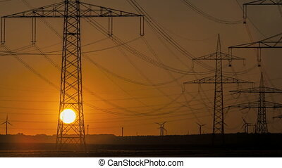 puissance, timelapse, lignes, coucher soleil, turbine, vent