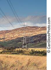 puissance, transmission, acier, perthshire, tour, électrique...