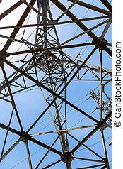 puissance, transmission, sous, tour, vue, structure, ascendant