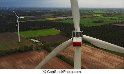 puissance, turbines, énergie, -, renouvelable, soutenable, concept., vent