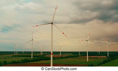 puissance, turbines, énergie, -, renouvelable, soutenable, ...
