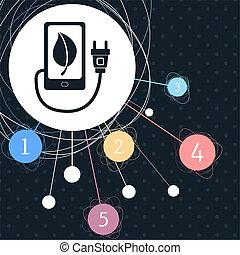 puissance, usb câble, point, eco, téléphone, charge, infographic, connecté, fond, style., icône