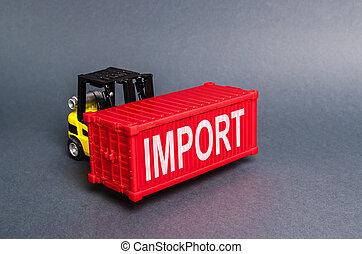 puissant, économie, fret, products., récipient cargaison, balance., globalisation, concept, nodes., transport, importation, marchandises, élévateur, guerre, porte, étiqueté, transit, rouges, import., services, commercer
