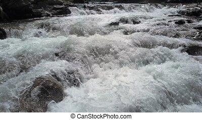 puissant, haut fin, eau, stream.