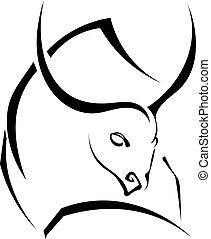 puissant, taureau, silhouette, noir