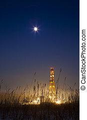puits de pétrole, dans, les, neigeux, paysage, allumé, à, night.
