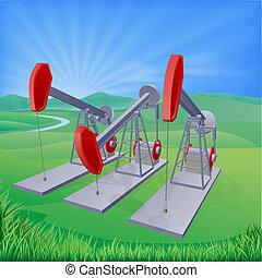 puits de pétrole, pumpjacks