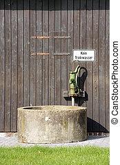 puits, main, pompe