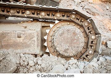 puits, pistes, utilisé, closeup, excavateur