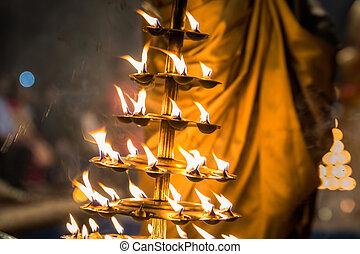 puja, bougies, brûler
