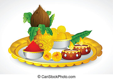 Puja Thali - illustration of puja thali with holy festival ...
