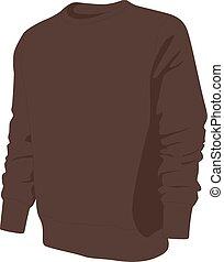 pulóver, vector, aislado, ilustración, realista, marrón