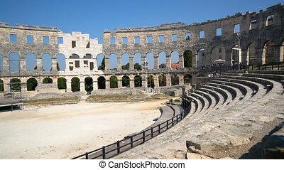 pula, arena, amfiteatr, pula, -, rzymski, chorwacja