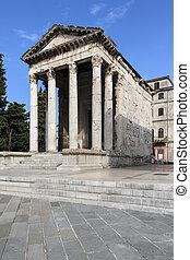 pula, croácia, -, templo, augustus
