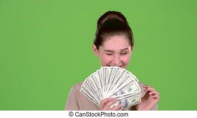 pula, ekran, lottery., zwyciężył, zielony, dziewczyna