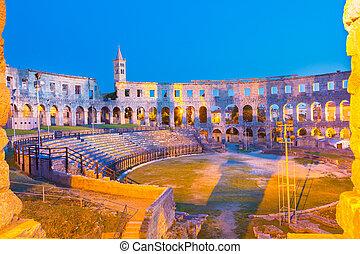 pula, római, amfiteátrum, croatia.