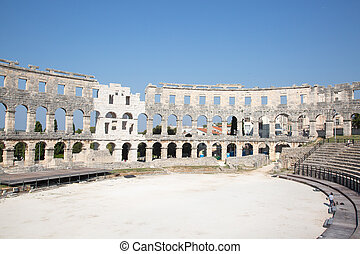 Pula. Roman amphitheater. - Ancient roman amphitheater in ...