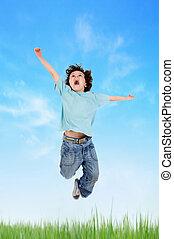 pular, adorável, prado, criança