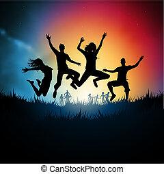 pular, adultos jovens