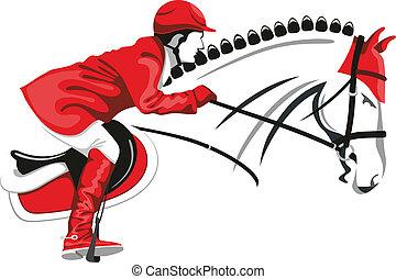 pular, cavalo, e, jóquei