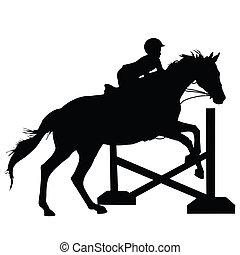 pular, cavalo, silueta