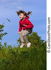 pular, criança
