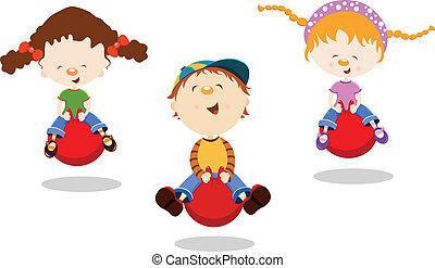 pular, crianças, hopper, bola