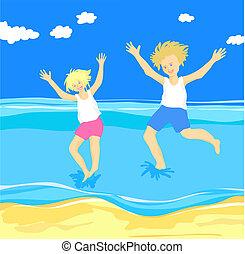 pular, crianças, mar