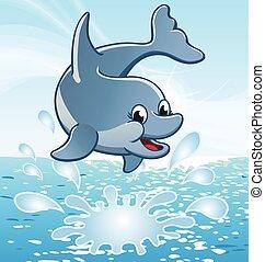 pular, cute, feliz, golfinho, sorrindo, vetorial, caricatura
