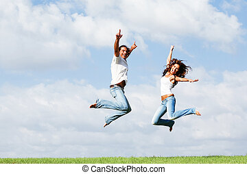 pular, de, alegria