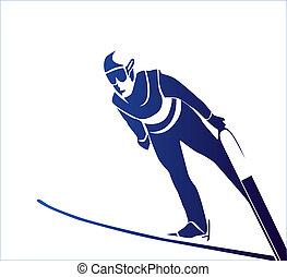 pular, esquiador