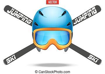 pular, etiquetas, emblemas, esqui, símbolo