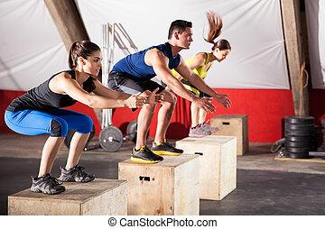 pular, exercícios, em, um, ginásio